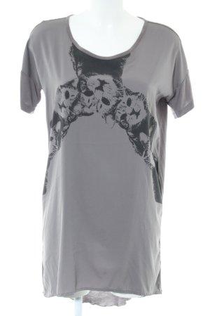 Rütme Robe bas asymétrique gris clair-noir motif animal style décontracté