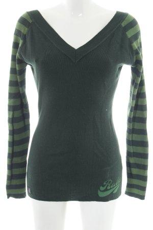 Rules by mary V-Ausschnitt-Pullover grün Streifenmuster Casual-Look