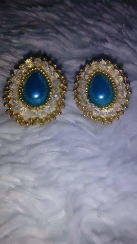 100% Fashion Pierścionek dla par niebieski neonowy