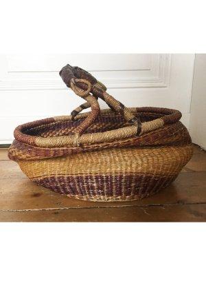 Vintage Torebka koszyk Wielokolorowy Tkanina z mieszanych włókien