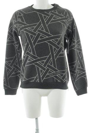 Rundhalspullover grau-weiß grafisches Muster Casual-Look