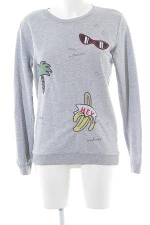 Kraagloze sweater lichtgrijs gestippeld casual uitstraling