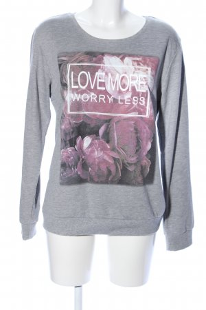 Colors of the world Rundhalspullover hellgrau-pink Motivdruck Casual-Look