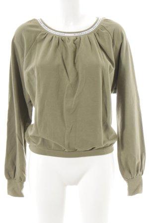 Rundhalspullover olivgrün-khaki sportlicher Stil