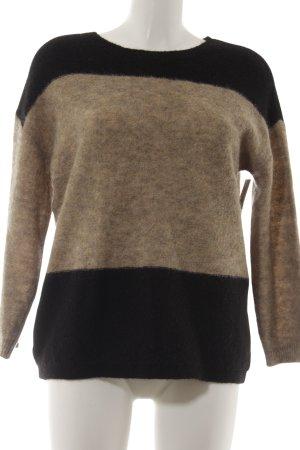 Rundhalspullover schwarz-camel Streifenmuster Street-Fashion-Look