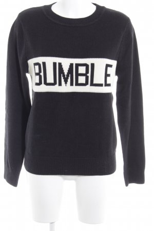 Rundhalspullover schwarz-weiß Casual-Look