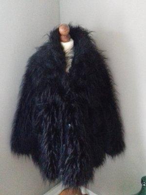 Rundholz Fake Fur Mantel Jacke Gr.M oversize rabenschwarz