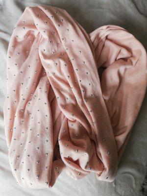 Écharpe ronde argenté-rosé coton