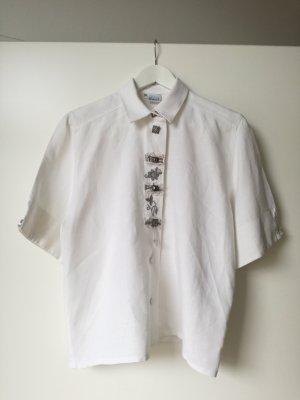 Chemise bavaroise blanc-blanc cassé lin