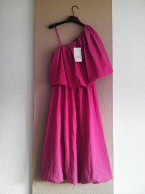 Rustikales, asymmetrisches Midikleid in pink aus Baumwolle und Leinen, Grösse S, neu
