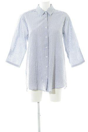 Rut & Circle Long-Bluse weiß-graublau Streifenmuster Casual-Look