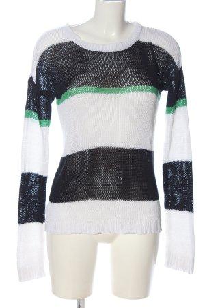 Rut & Circle Strickpullover weiß-schwarz Streifenmuster Casual-Look