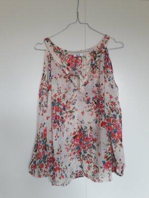 Rut m.fl. Off-Shoulder Bluse Tunika schulterfrei Schluppe Blumenmuster creme rot grün gelb blau pink Gr. 36