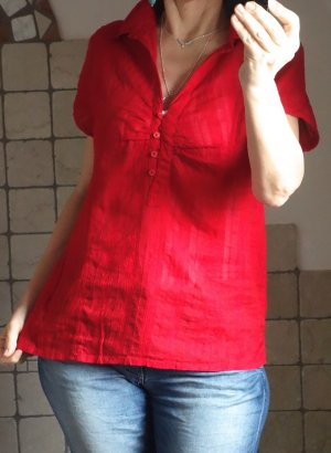 s:aix Bluse, Indien, Spitzenstoff, Hemdbluse, leichtes Material aus 100% Baumwolle, rot, leichtes, angenehmes Material, zart, Kurzarm, neuwertig, Gr. 44, Gr. L oder oversize bei 38/40
