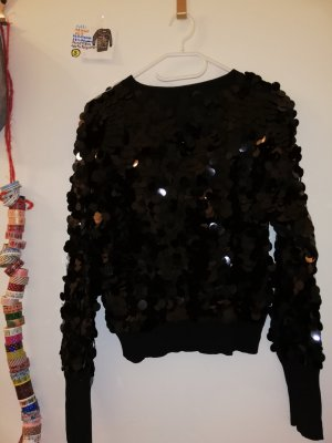 S dünner Pulli Mango suit schwarz mit pajetten