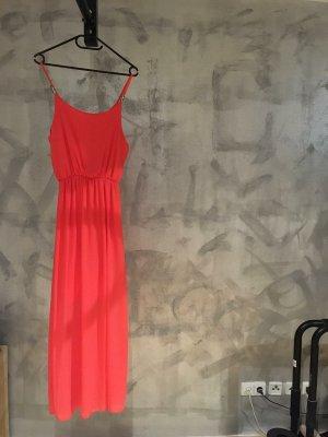 S Kleid ärmellos lachs rosa orange lang
