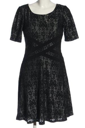 S.L. Fashion Kurzarmkleid schwarz Allover-Druck Elegant