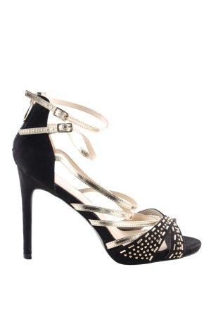 Riemchen-Sandaletten schwarz-goldfarben Business-Look