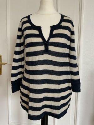 S.Marlon Fine Knit Jumper dark blue-natural white linen