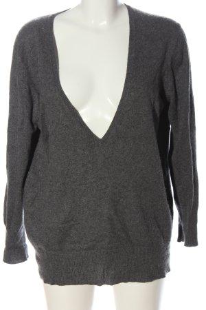 S.Marlon V-Neck Sweater light grey flecked casual look