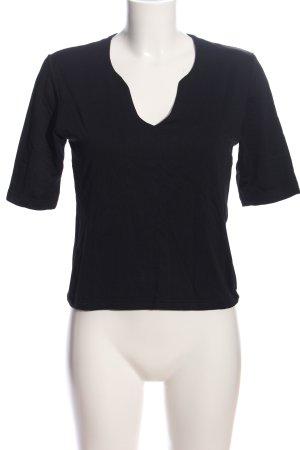 S.Marlon V-Ausschnitt-Shirt schwarz Casual-Look
