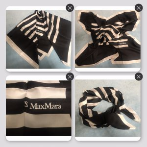 'S MaxMara Bufanda de seda negro-blanco puro