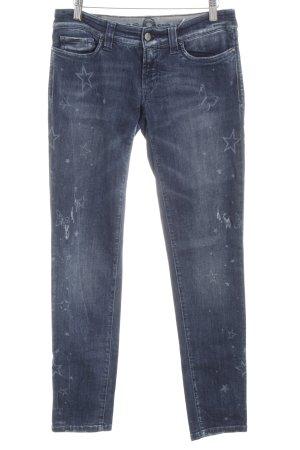 S.O.S by Orza Studio Slim Jeans blau-hellgrau Motivdruck Casual-Look