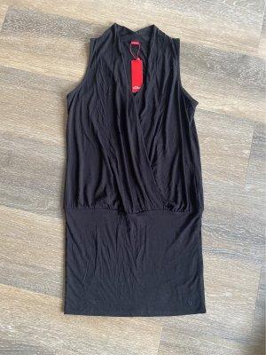 S.Oliver 38 m schwarz neu Minirock Kleid wasserfallkragen