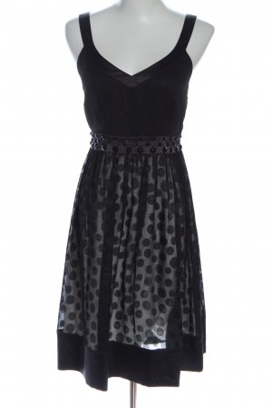s.Oliver A-Linien Kleid schwarz-hellgrau Punktemuster Casual-Look