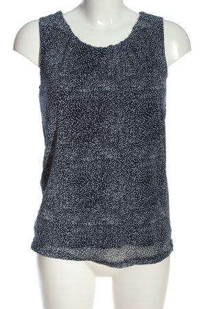 s.Oliver ärmellose Bluse blau-weiß Allover-Druck Casual-Look