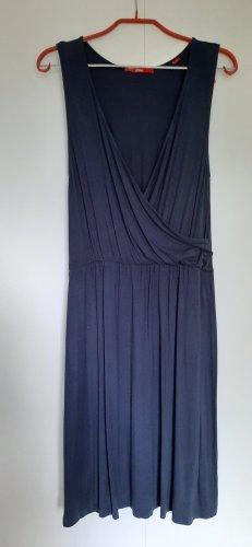 s.Oliver ärmelloses Jerseykleid aus Viskose in Wickeloptik dunkelblau Gr. 36