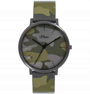 s. Oliver (QS designed) Montre analogue vert olive-noir