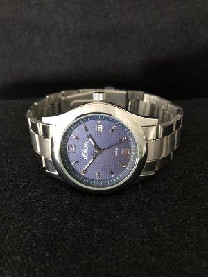 s.Oliver Montre avec bracelet métallique argenté-bleu acier métal