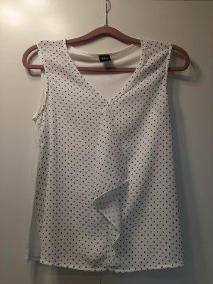 s.Oliver Black Label ärmelloses Blusenshirt Minimal-Muster weiß schwarz Gr. 36