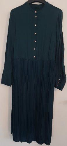 s.Oliver BLACK LABEL Blusenkleid, teal green / dunkelgrün mit roségoldenen Knöpfen, Größe 38