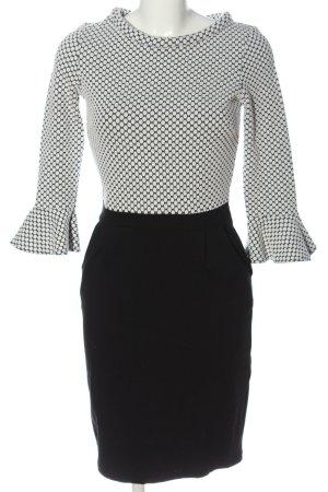 s.Oliver Black Label Kokerjurk wit-zwart gestippeld patroon elegant