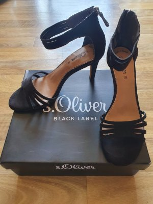 s.Oliver Black Label Sandales à talons hauts et lanière noir