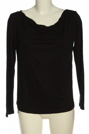 s.Oliver Black Label Camisa con cuello caído negro look casual