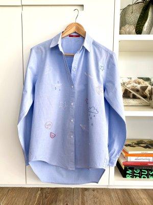 S.OLIVER Bluse hellblau mit Stickereien