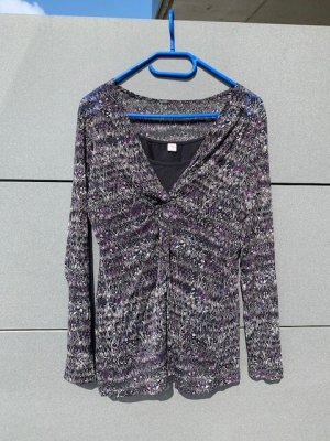 s.Oliver Bluse Shirt Tunika lang Gr. M / 40 schwarz lila wie neu