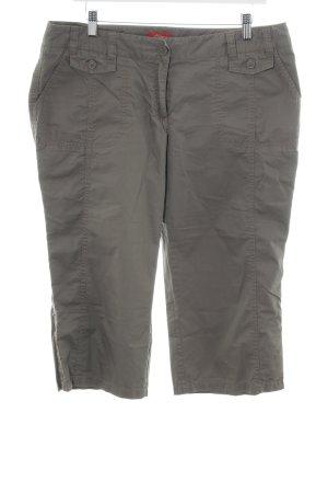 s.Oliver Pantalon capri gris vert-ocre coton