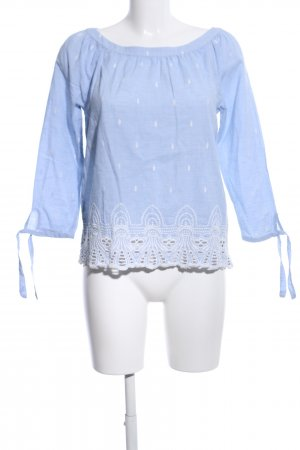 s.Oliver Carmen-Bluse blau-weiß Allover-Druck Casual-Look