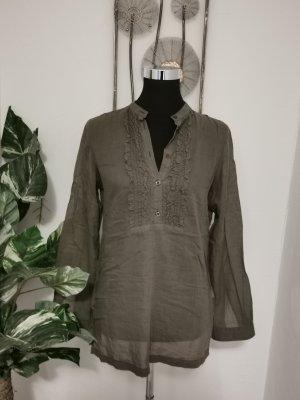 S. Oliver Casual Damen Bluse Vintage Look Rüschen grau Größe 44