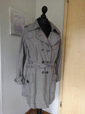 S Oliver Damen Trenchcoat Mantel kariert schwarz grau Größe 40 M