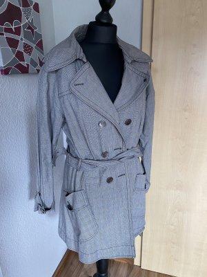 S. Oliver Damen Trenchcoat Mantel Übergangsjacke kariert schwarz grau Größe M 38