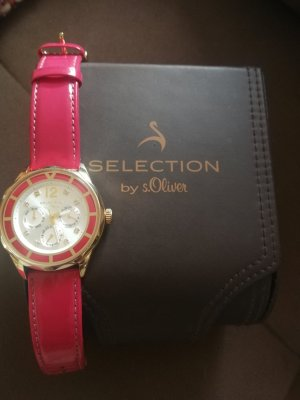 Selection by s.oliver Watch With Leather Strap magenta