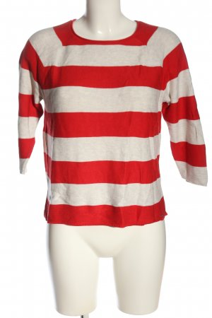 s.Oliver Fine Knit Jumper red-natural white striped pattern casual look