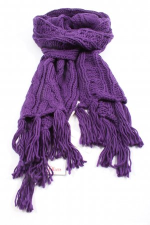 s.Oliver Fringed Scarf lilac cable stitch casual look