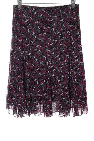 s.Oliver Jupe à godet noir-rouge motif de fleur style décontracté
