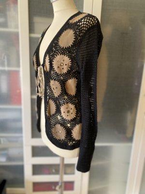 s.Oliver Crochet Cardigan black-beige cotton